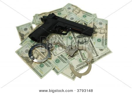 Hand Gun, Handcuffs, Hand Money