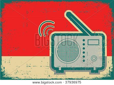 Retro Radio.vector Grunge Poster On Old Texture