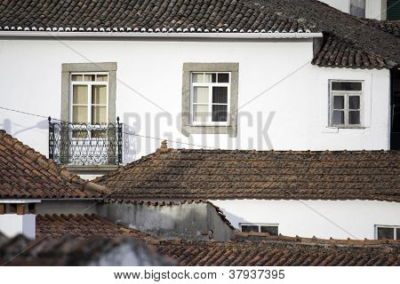 Detail of some houses and roof tiles at a little portuguese village