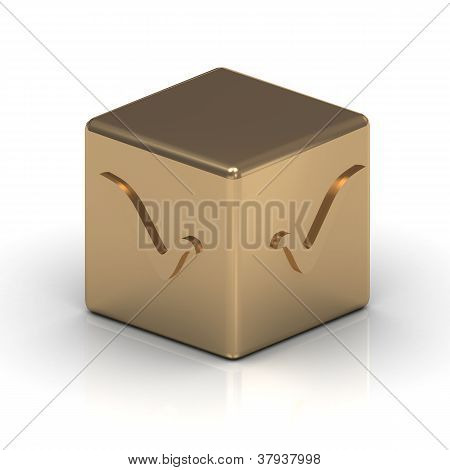Gold Cube With A Check Mark