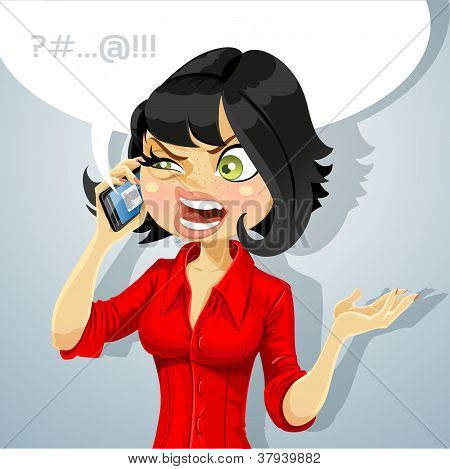 Cute girl talking on the phone about something unpleasant