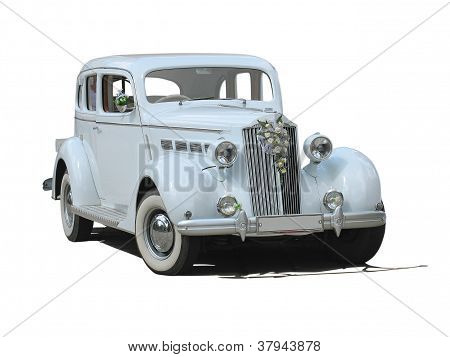 Retro Vintage White Dream Wedding Luxury Car Isolated