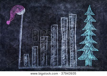 Blackboard With Bar Chart And Santa Hat