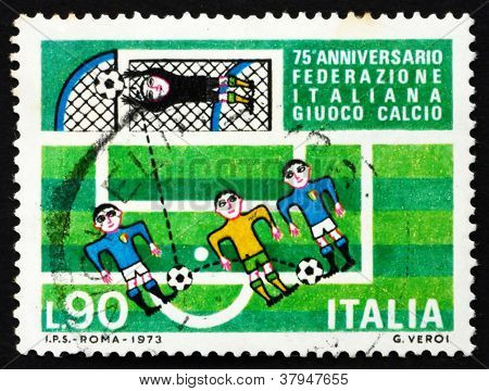 Postage stamp Italy 1973 Soccer players and goal