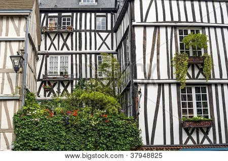Rouen - Exterior Of Half-timbered House