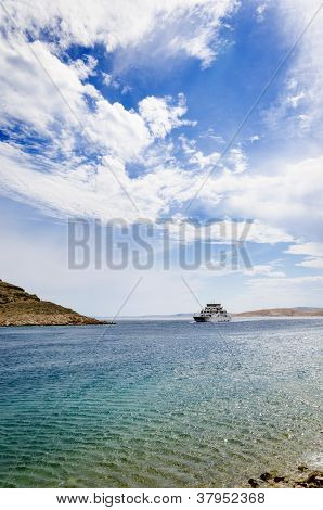Small ferry on the sea