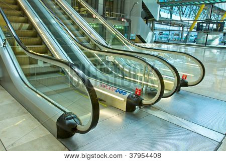 metal and glass escalator