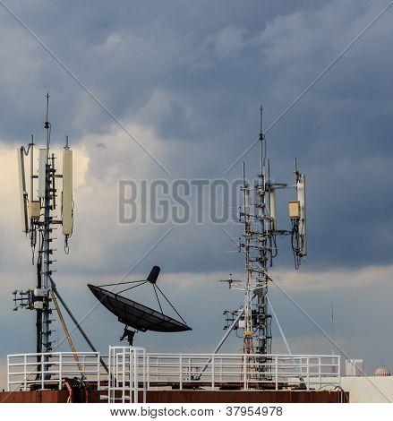 Satellite Dish In Cloudy Sky