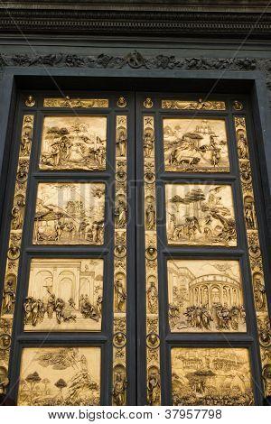 Bronze Door By Ghiberti, Florence, Italy.