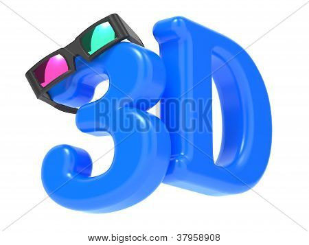 Anaglyph Glasses with Blue Letters Over White.