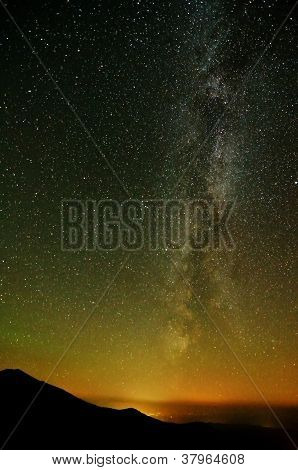 Milky Way Over City Lights And Mountains