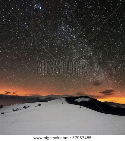 Winter Mountains Under Starry Cloudy Sky