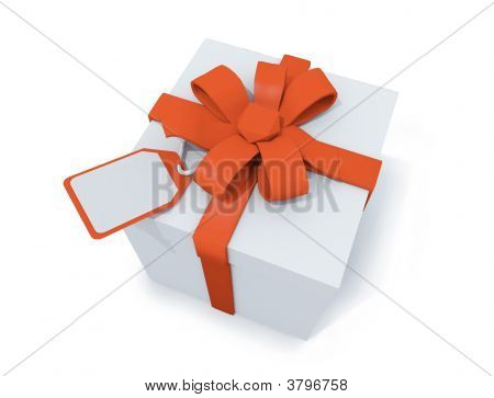 Present With Orange Ribbon And Label
