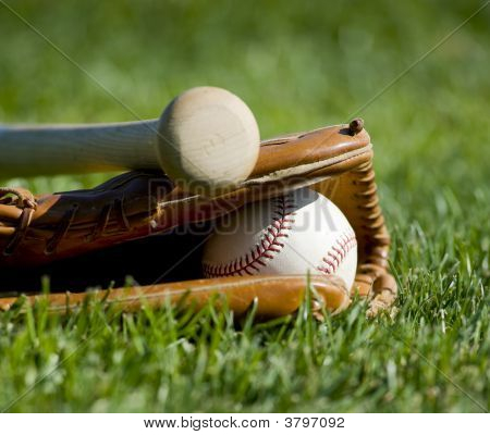 Baseball Glove, Bat And Ball