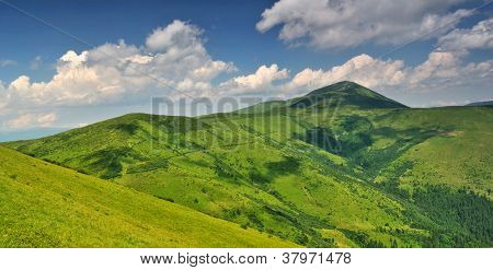 Alpine Mountain Meadows Under Petros Mount