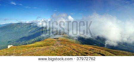 High Carpathian Mountains In Clouds