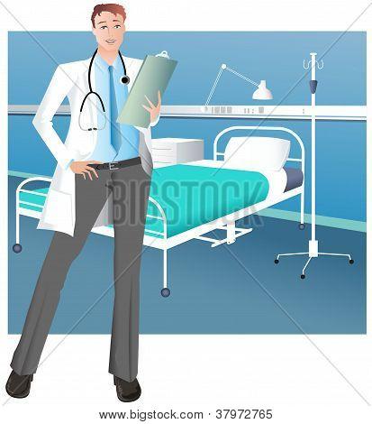 Male doctor in hospital ward