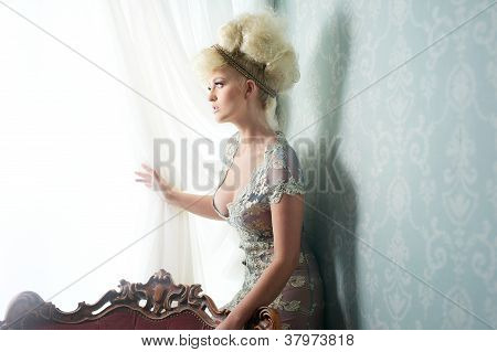 Fashion Model In Beautiful Dress