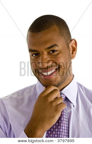 Sharp Dressed Black Man Hand On Chin