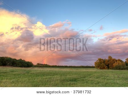 Field In The British Countryside At Sunset