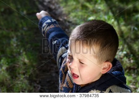 Little Boy Crying Out In The Woods