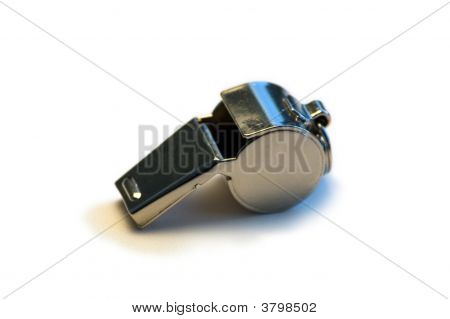 Metal Whistle On White