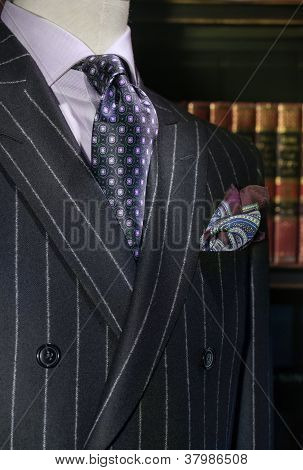 Striped Jacket with Purple Shirt and Tie (Vertical)