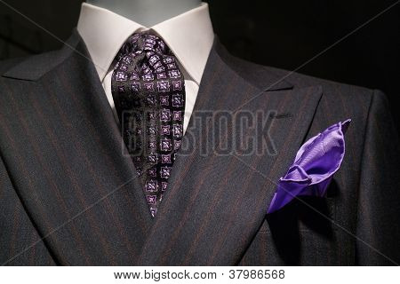 Striped Jacket, Patterned Tie and Purple Handkerchief (Horizontal)