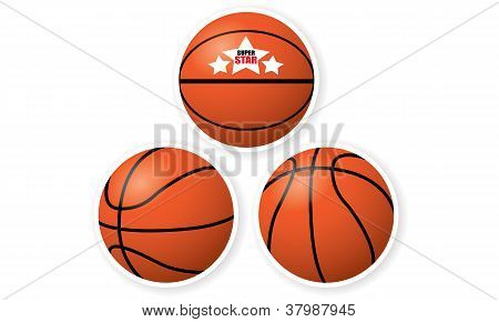 Set of Basketballs isolated on white