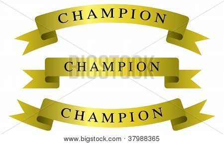 Set of vector champion ribbons