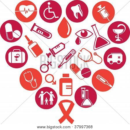 background with medicine icons and elements