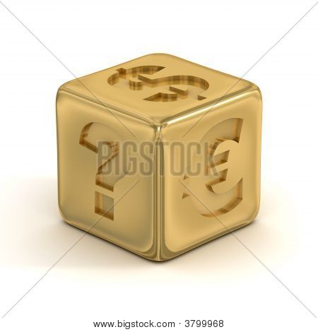 Cube With Currency Signs. 3D Image.