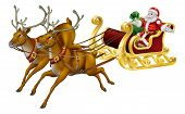 stock photo of rudolf  - Illustration of Santa in his Christmas sled being pulled by reindeer - JPG