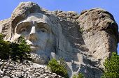 pic of mount rushmore national memorial  - President AbrahamLincoln at Mount Rushmore National Memorial in the Black Hills near Keystone South Dakota USA - JPG