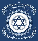 foto of hanukkah  - Jewish Hanukkah holiday background with magen david star  - JPG