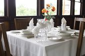 stock photo of luge  - Classic table setting in old luge restaurant - JPG