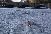 BOSTON - OCTOBER 21: Many teams race to go under the Anderson Bridge in the Head of Charles Regatta,