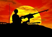 foto of abram  - a silhouette of an army gunner on a tank - JPG