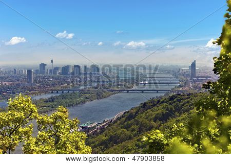 Skyline Of Vienna And Danube