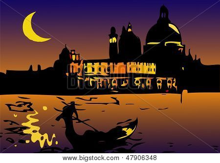 Noite em Veneza com lua