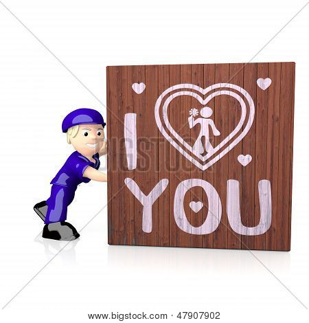 3D Graphic Of A Childish I Love You Icon  On Delivered Box