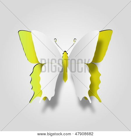 High resolution 3D abstract concept or conceptual white paper with yellow background butterfly shape or symbol