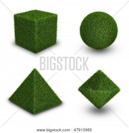 Green grass abstract shape figures