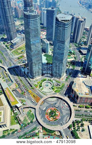 Shanghai city aerial view with urban architecture.