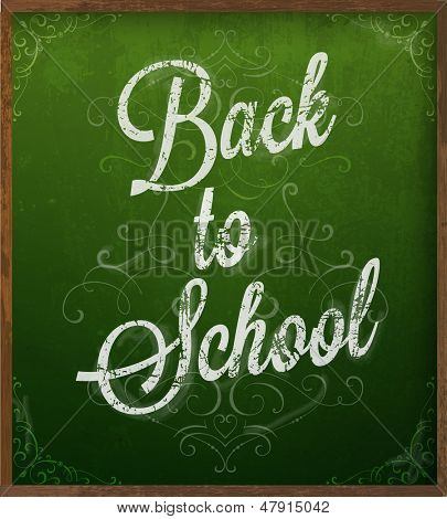 Back to school. Chalk blackboard vector.