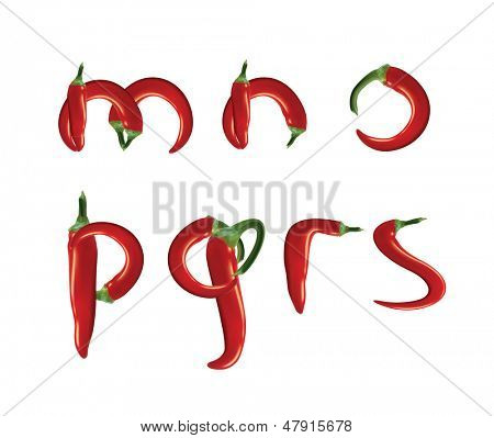 Alphabet, red hot chilli peppers. Editable vector format.