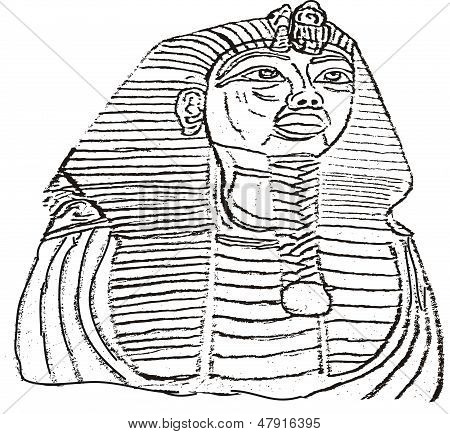 king tut outline illustration