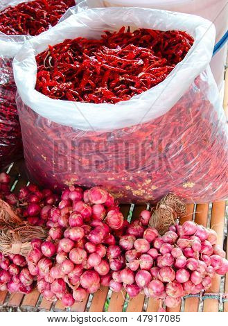 Traditional Ingredient Dry Chili With Onion At The Thai Market