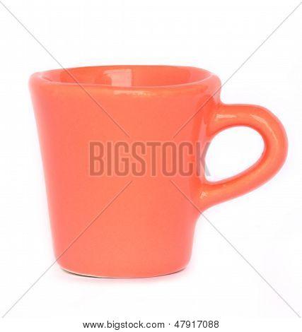 Orange Mug Or Cup Isolated On White Background