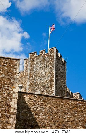 United Kingdom flag on the Medieval Dover Castle in England